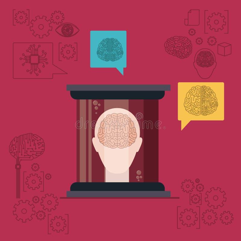 Silueta de la cabeza humana con el cerebro en vista delantera en envase transparente en fondo rojo oscuro stock de ilustración