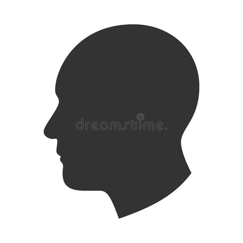 Silueta de la cabeza masculina, cara del hombre en el perfil, vista lateral stock de ilustración