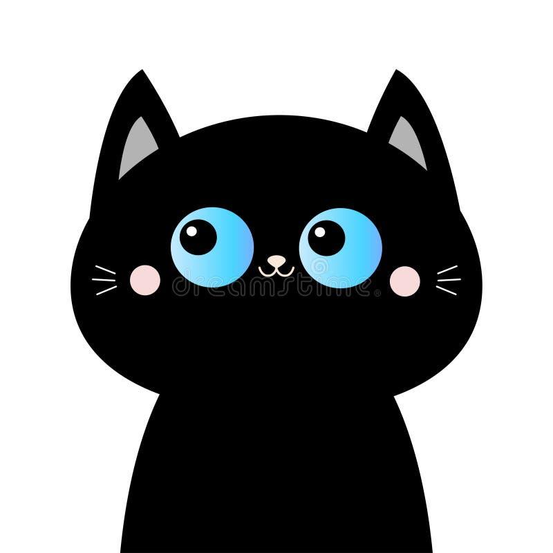 Silueta de la cara de la cabeza del gato negro Ojos azules El rosa se ruboriza las mejillas Animal divertido de Kawaii Tarjeta de ilustración del vector