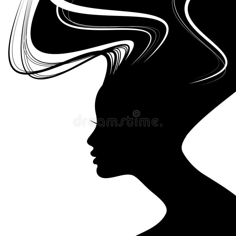 Silueta de la cara de la mujer stock de ilustración