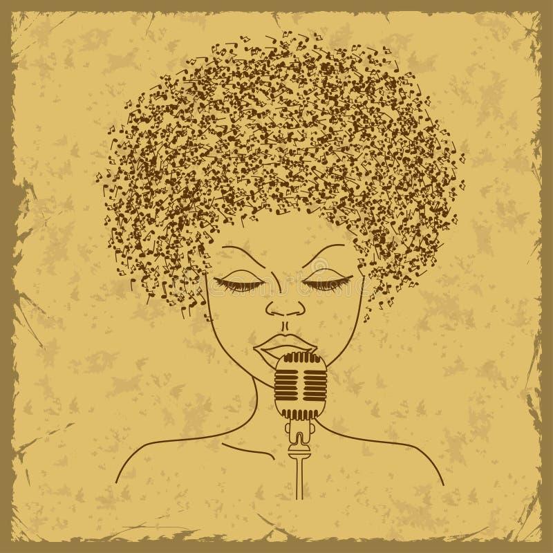 Silueta de la cara del cantante con el pelo de las notas musicales ilustración del vector