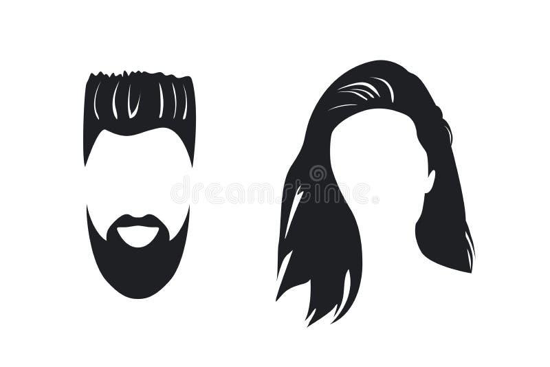 Silueta de la cara del hombre y de la mujer ilustración del vector