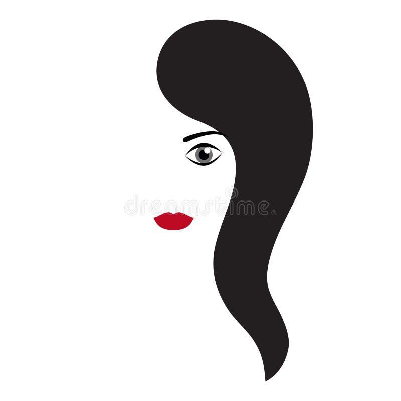 Silueta de la cara de una muchacha con largo en pelo negro y labios rojos libre illustration