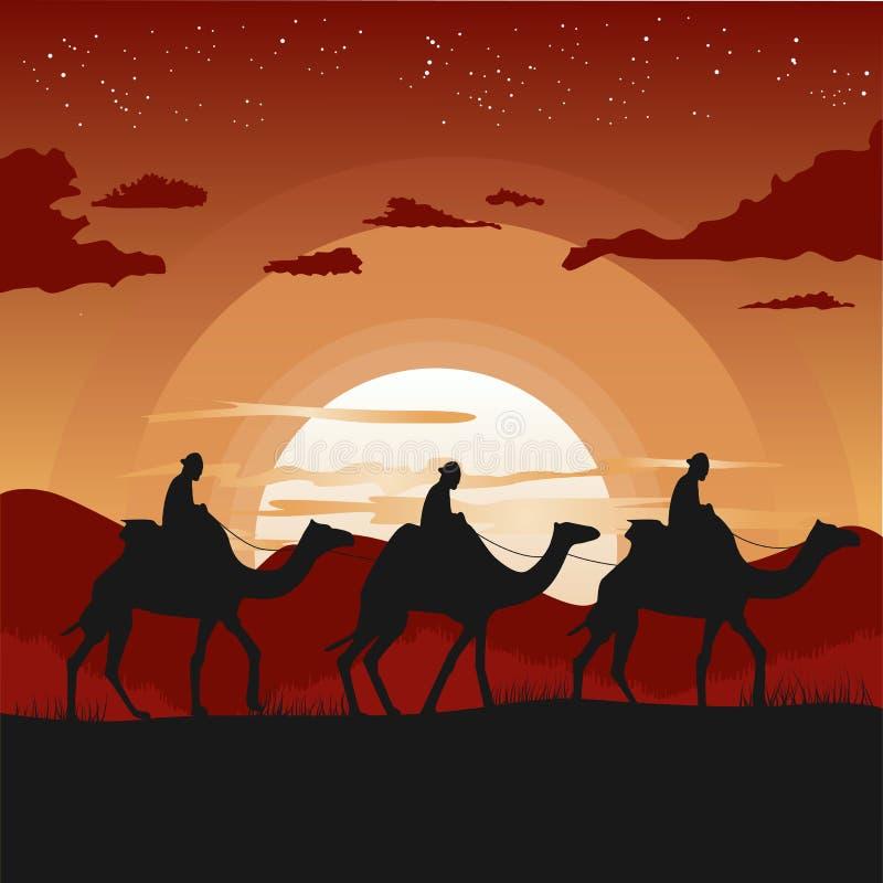 Silueta de la caravana del camello que viaja en desierto en la puesta del sol ilustración del vector