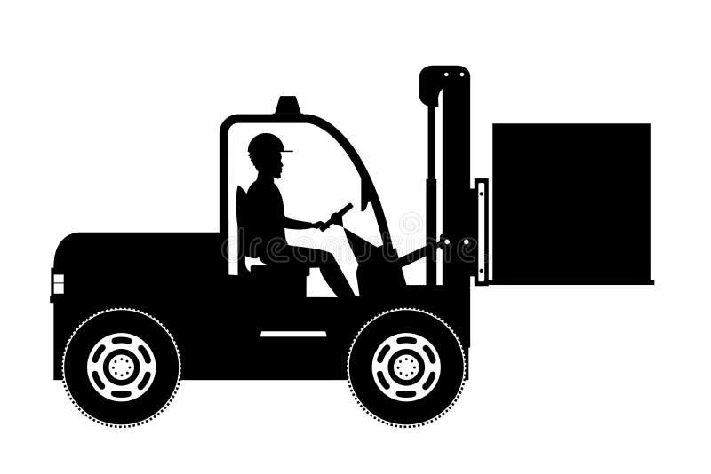 Silueta de la carga afroamericana del trabajador del almacén de madera stock de ilustración