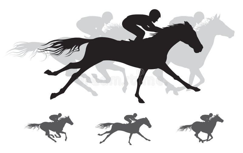 Silueta de la carrera de caballos, galope ilustración del vector