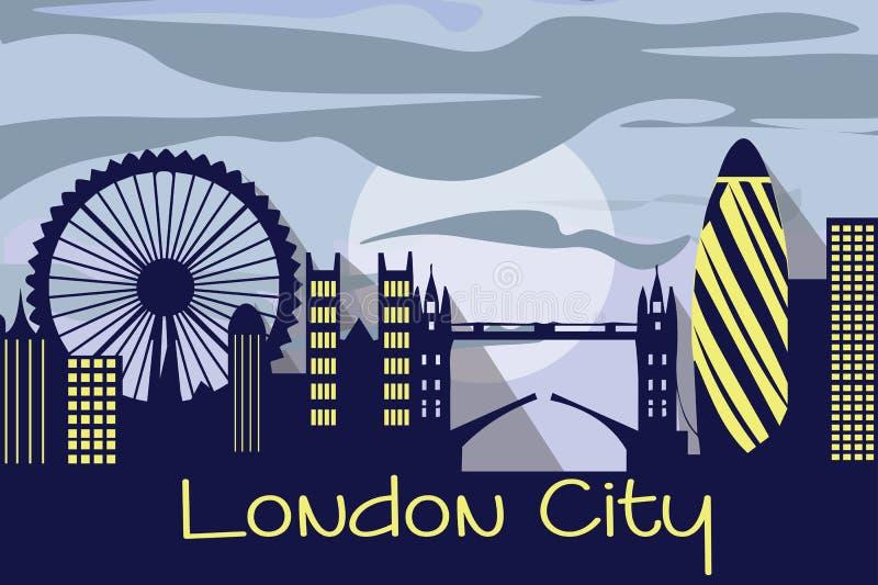 Silueta de la ciudad de Londres ilustración del vector
