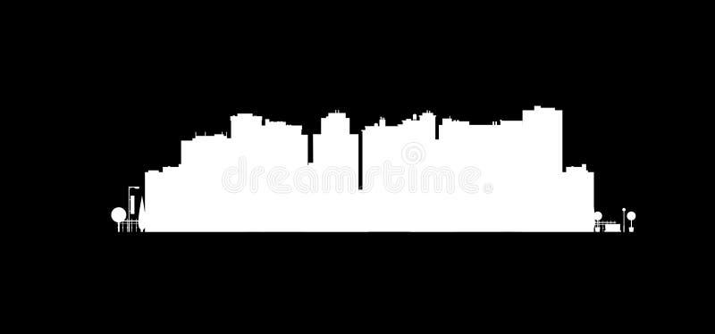 Silueta de la ciudad del vector Fondo del paisaje urbano Ejemplo del edificio arquitectónico en la visión panorámica Horizonte mo ilustración del vector