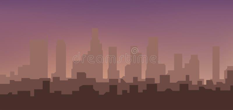 Silueta de la ciudad en la salida del sol stock de ilustración