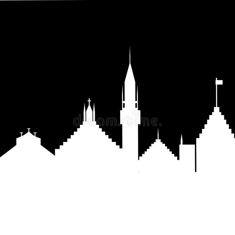 Silueta de la ciudad vieja en un fondo negro imágenes de archivo libres de regalías