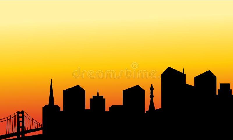 Silueta de la ciudad y del puente libre illustration