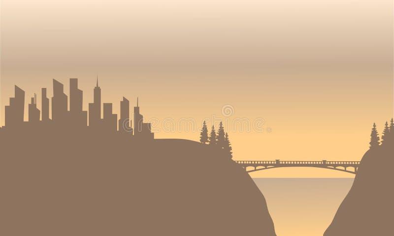 Silueta de la ciudad y del puente stock de ilustración
