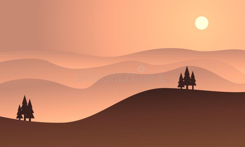 Silueta de la colina en la puesta del sol ilustración del vector