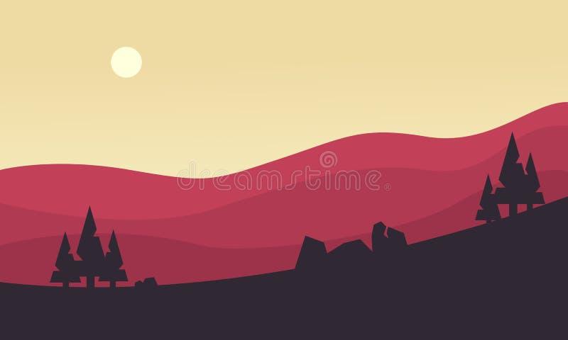 Silueta de la colina en la salida del sol libre illustration