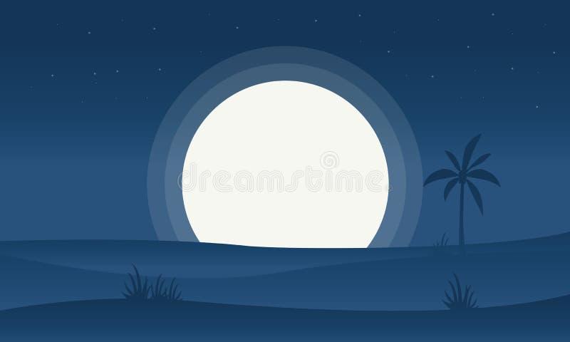 Silueta de la colina y de la Luna Llena ilustración del vector
