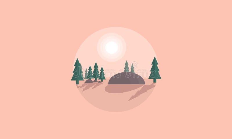 Silueta de la colina y de la picea stock de ilustración