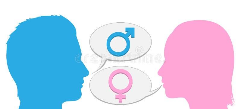 Silueta de la conversación del hombre y de la mujer ilustración del vector