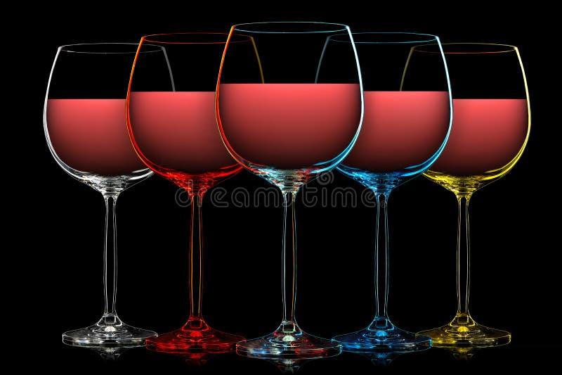 Silueta de la copa de vino del color en negro fotografía de archivo