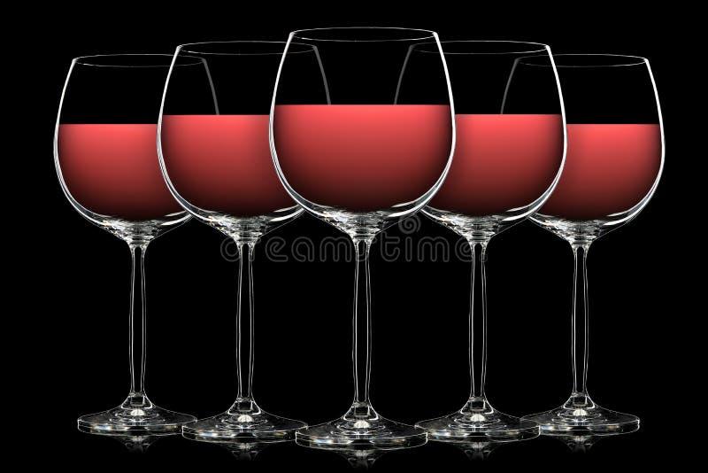 Silueta de la copa de vino del color en negro imagen de archivo libre de regalías