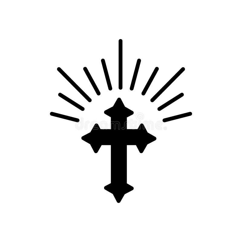 Silueta de la cruz adornada con las luces del sol Tarjeta feliz del ejemplo o de felicitación del concepto de Pascua Símbolo reli stock de ilustración