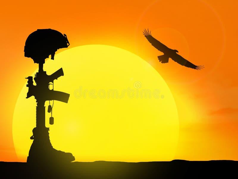 Silueta de la cruz del soldado caido ilustración del vector