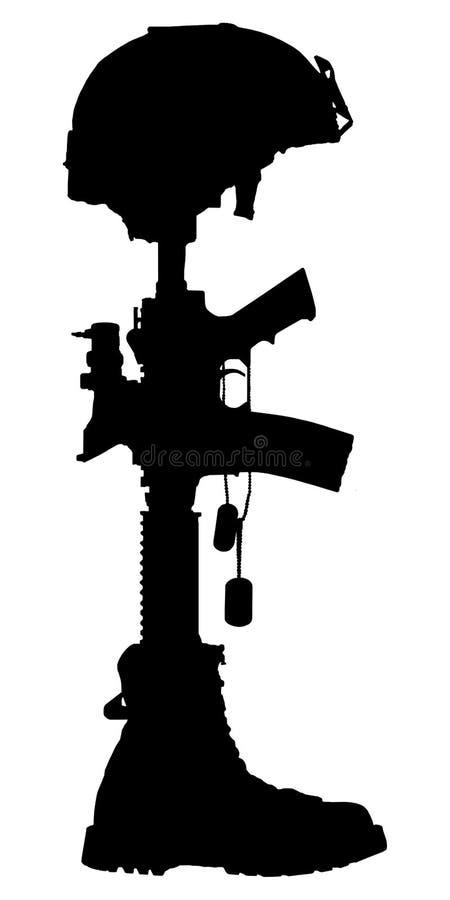 Silueta de la cruz del soldado caido stock de ilustración