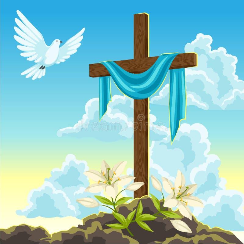 Silueta de la cruz de madera con la cubierta, la paloma y los lirios Tarjeta feliz del ejemplo o de felicitación del concepto de  ilustración del vector