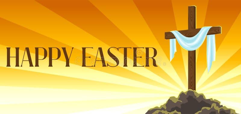 Silueta de la cruz de madera con la cubierta Tarjeta feliz del ejemplo o de felicitación del concepto de Pascua Símbolo religioso stock de ilustración