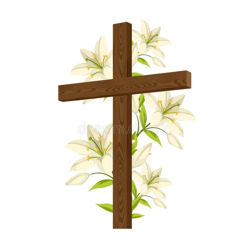 Silueta de la cruz de madera con los lirios Tarjeta feliz del ejemplo o de felicitación del concepto de Pascua Símbolos religioso stock de ilustración