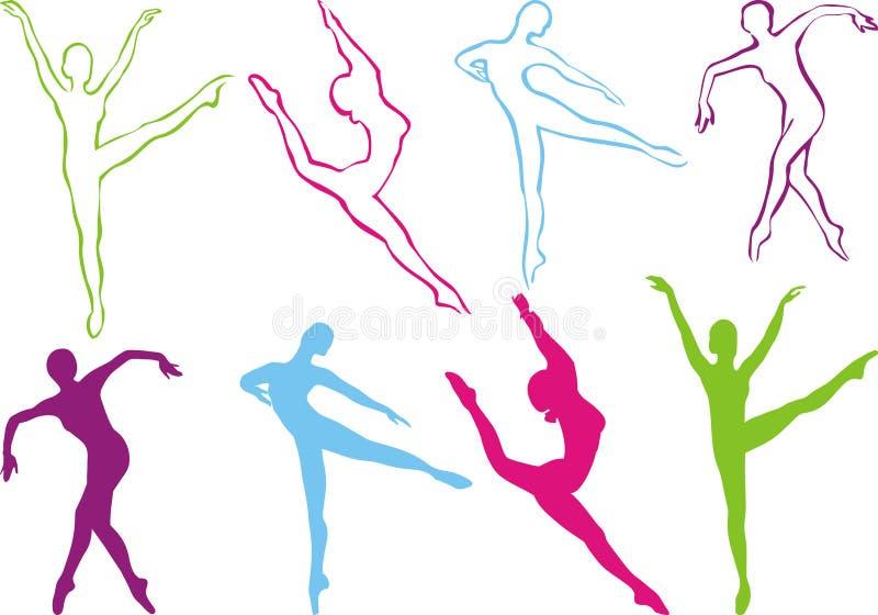 Silueta de la danza stock de ilustración