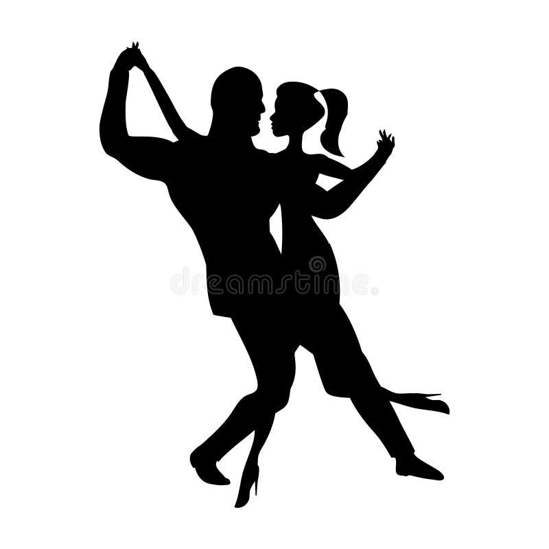 Silueta de la danza del hombre y de la muchacha, baile de la música danzas sociales sensuales La imagen blanco y negro aisló Ilus stock de ilustración