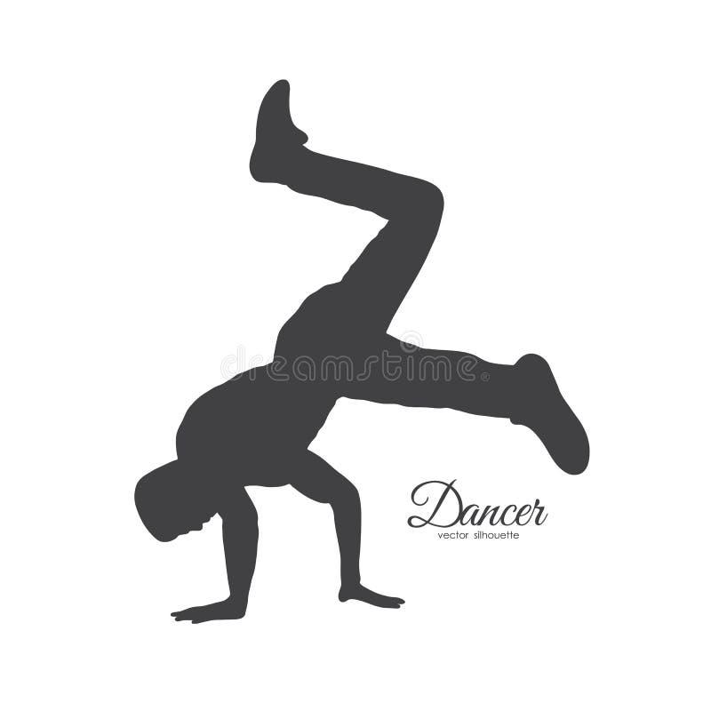 Silueta de la danza de rotura Baile del hombre joven de Hip Hop en el fondo blanco ilustración del vector