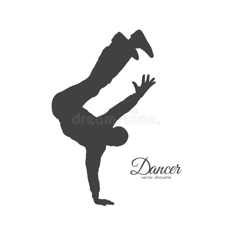 Silueta de la danza de rotura expresiva Baile del hombre de Hip Hop en el fondo blanco ilustración del vector