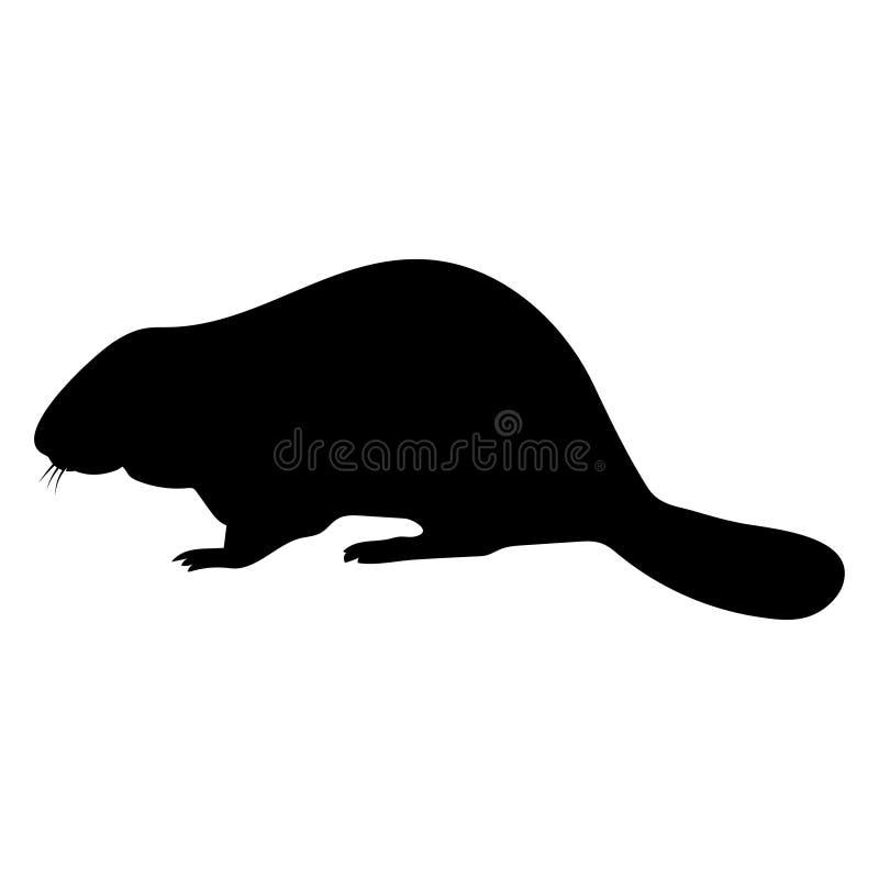 Silueta de la diversión de un castor Negro en el fondo blanco stock de ilustración