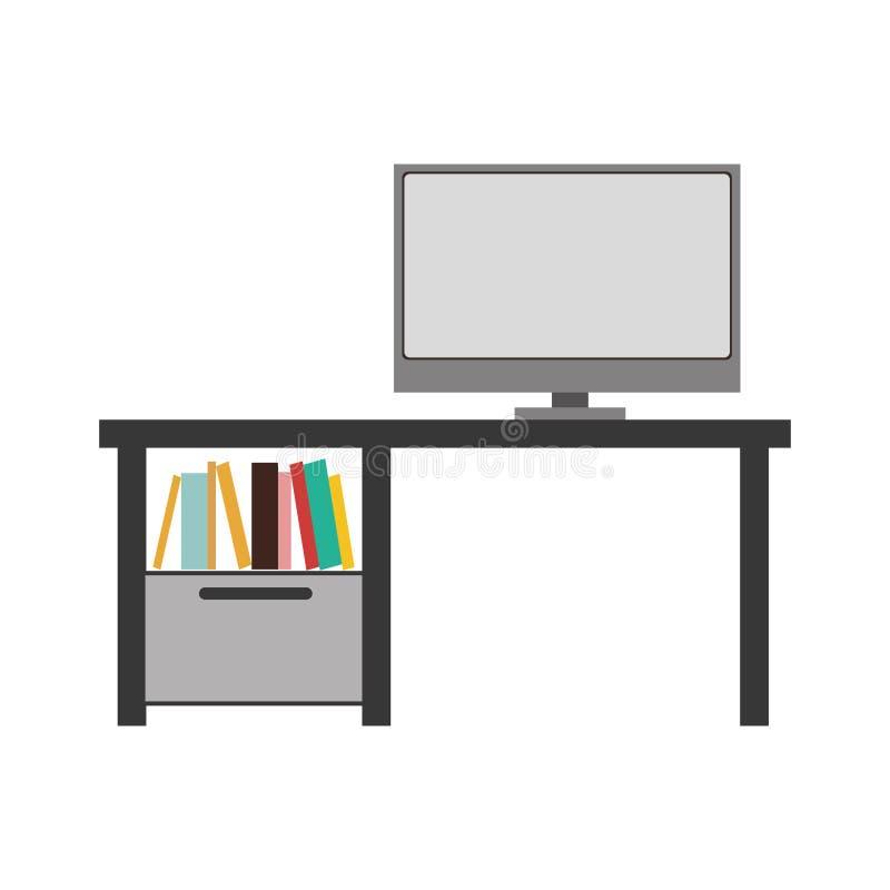 silueta de la escala gris con Ministerio del Interior y los libros coloreados ilustración del vector