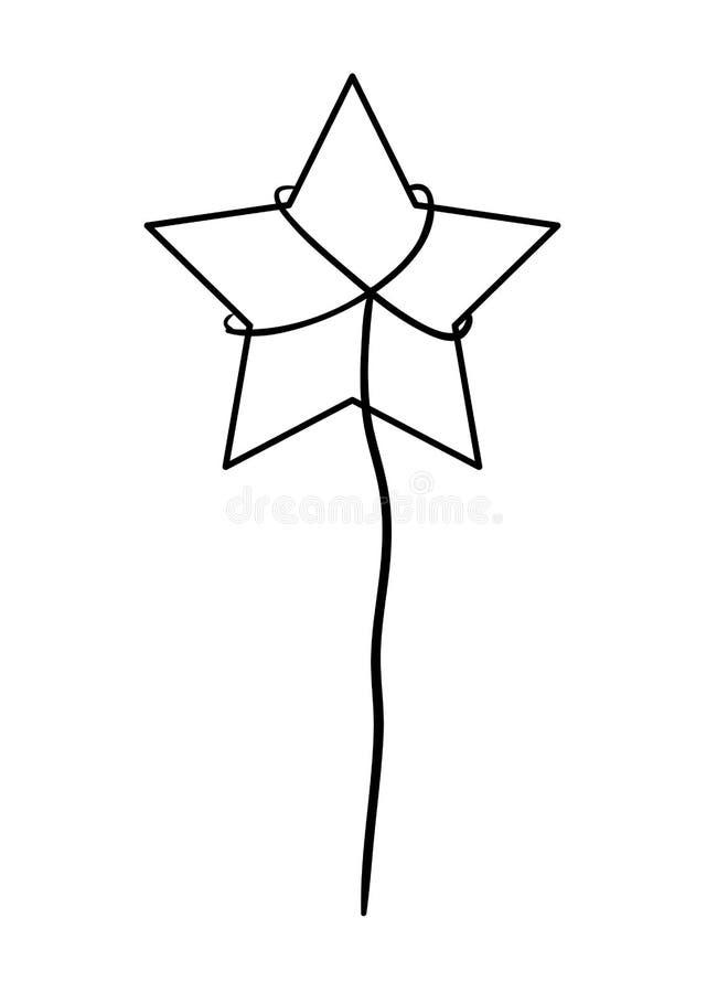 Silueta de la estrella de cinco puntos en el fondo blanco stock de ilustración