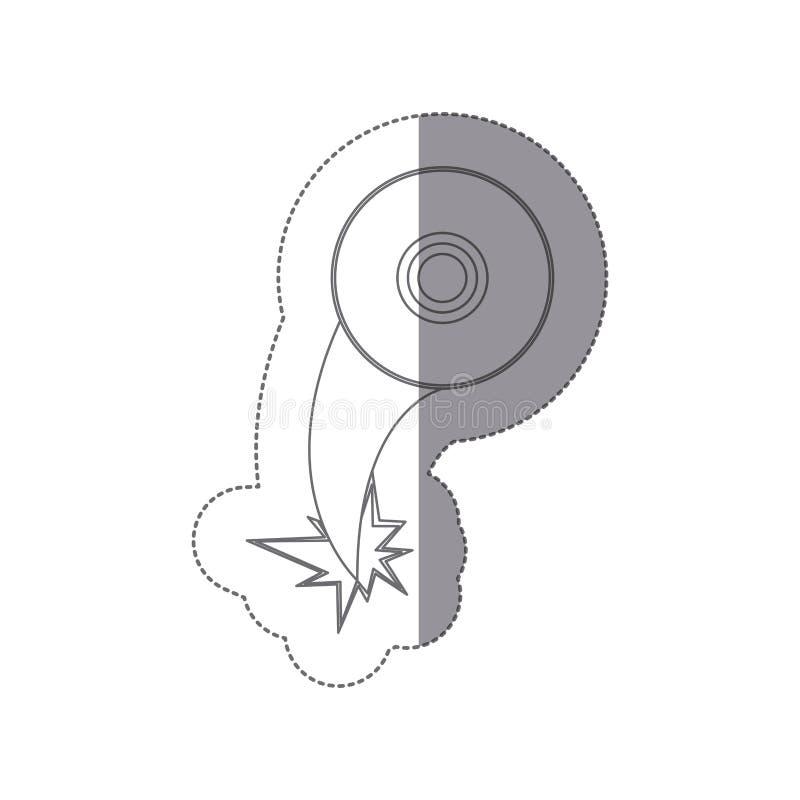 silueta de la etiqueta engomada con el vuelo de la eyección del icono del disco compacto stock de ilustración