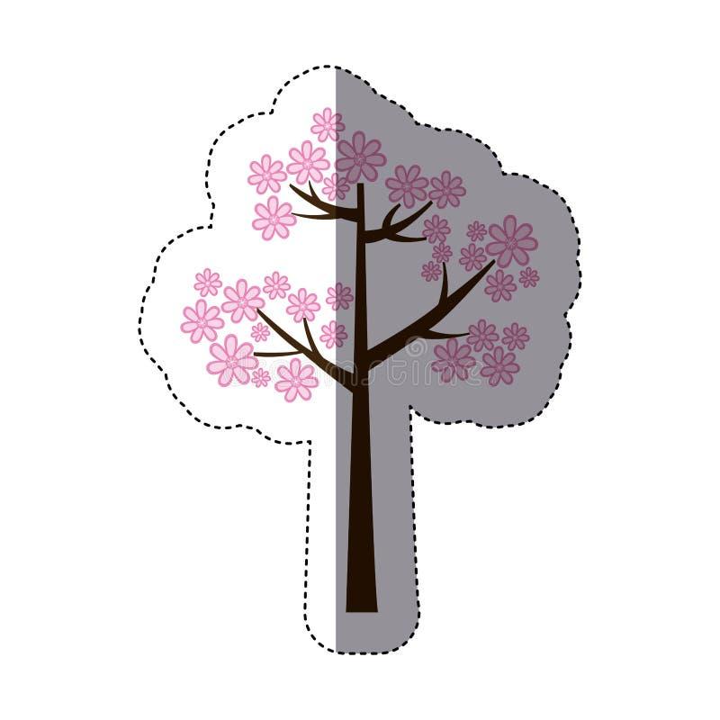 silueta de la etiqueta engomada del color con el árbol floral rosado ilustración del vector