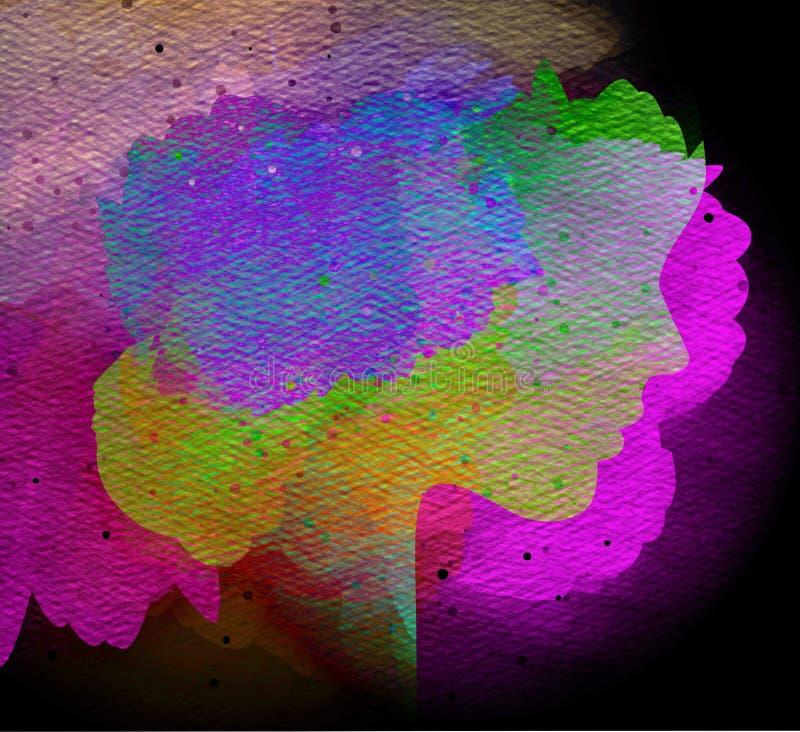 Silueta de la exposición doble de la mujer con color de agua salpicado imagenes de archivo