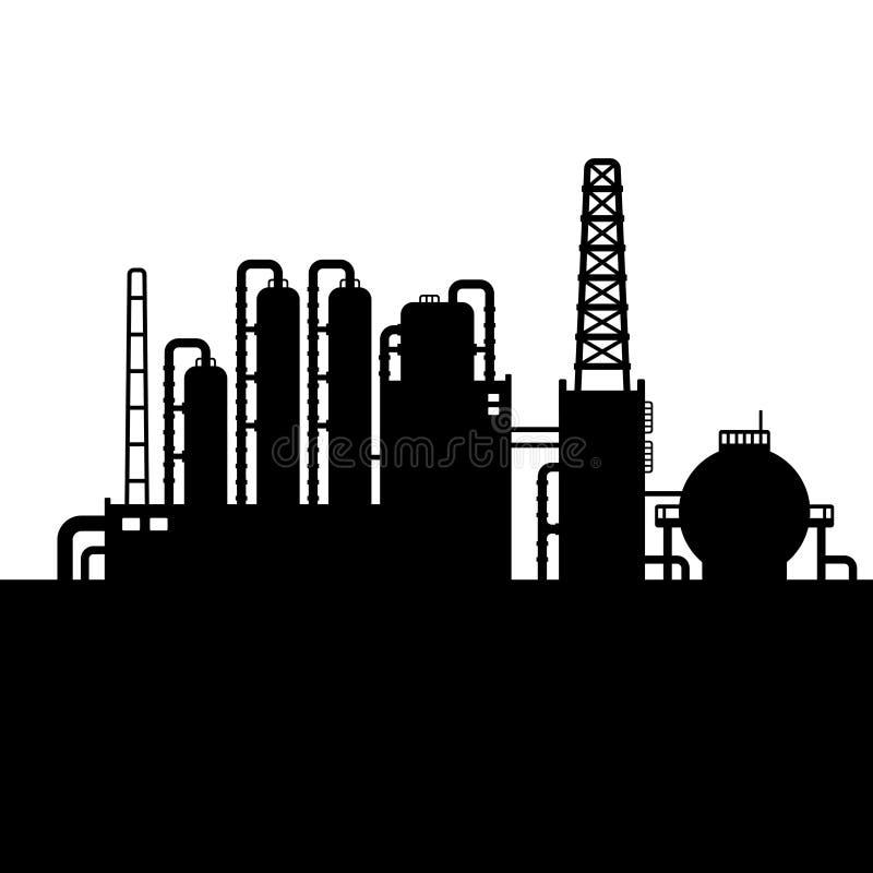 Silueta de la fábrica de la planta y de la sustancia química de la refinería de petróleo ilustración del vector