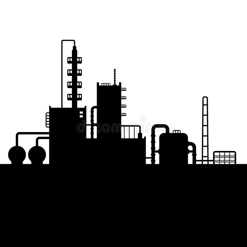 Silueta de la fábrica de la planta y de la sustancia química de la refinería de petróleo libre illustration