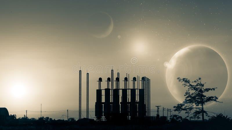 Silueta de la fábrica en la puesta del sol Mundo de fantasía Imagen del pla de la tierra imagen de archivo libre de regalías