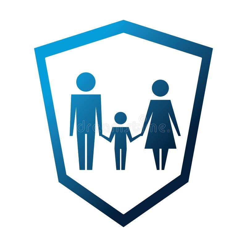 Silueta de la familia en icono aislado escudo stock de ilustración