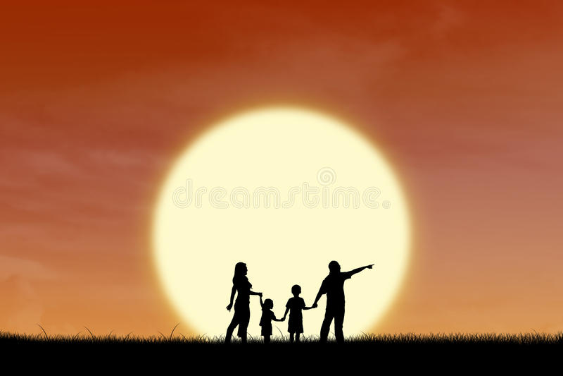 Familia feliz en silueta de la puesta del sol stock de ilustración