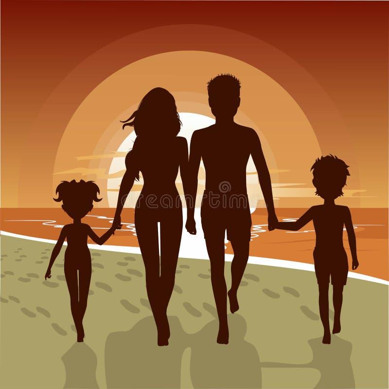 Silueta de la familia feliz que camina a lo largo de la playa en la puesta del sol stock de ilustración