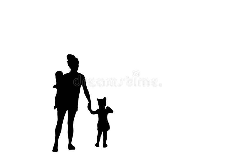 Silueta de la familia de una madre que lleva a un bebé y que celebra las manos con su niña aislada en un fondo blanco ilustración del vector