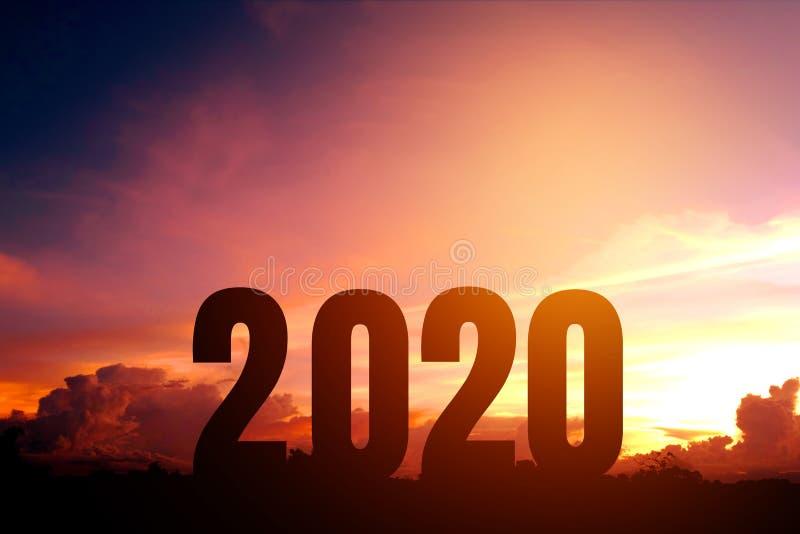Silueta de la Feliz Año Nuevo 2020 del concepto de Newyear del número fotografía de archivo