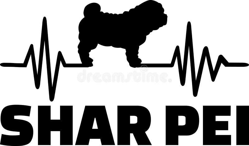 Silueta de la frecuencia de Shar Pei stock de ilustración
