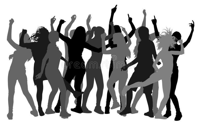 Silueta de la gente del bailarín del partido, noche de la muchacha stock de ilustración
