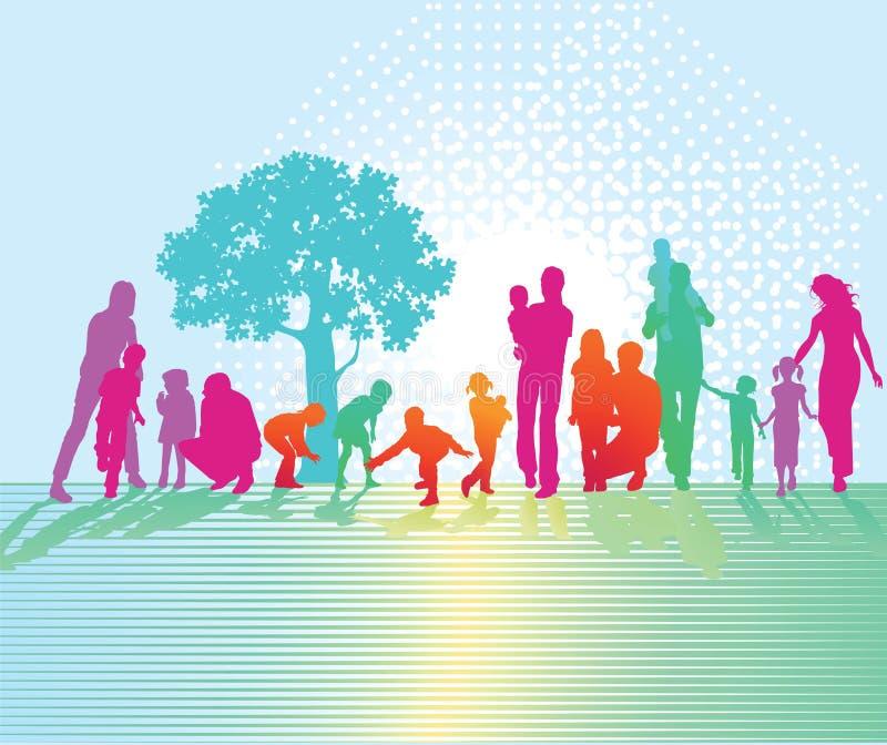 Silueta de la gente en parque ilustración del vector